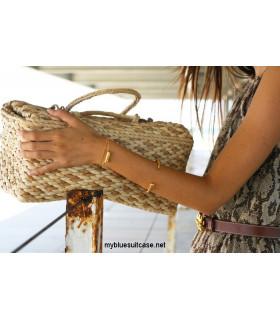 Leather flower bracelets with bag