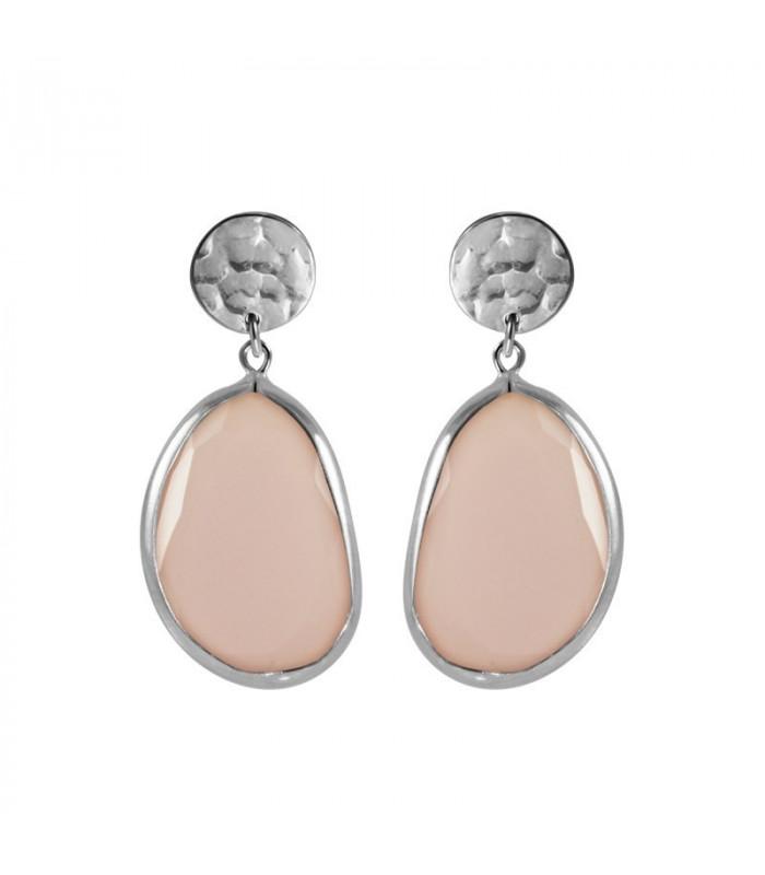 Silver irregular stone earring