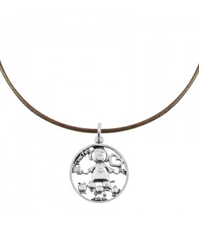 Teacher necklace in silver and leather