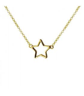 Gargantilla estrella perfil dorada