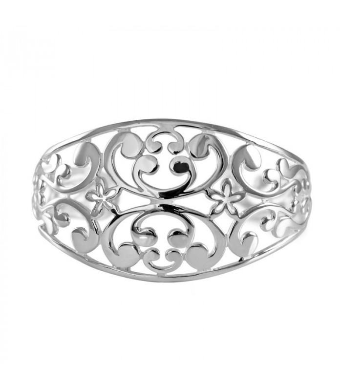 Pulsera floral calada en plata