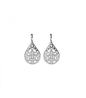 Silver teardrop earrings with openwork