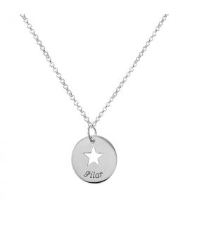 colgante estrella con grabado en plata