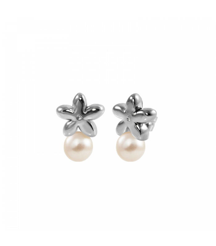 Pendiente jazmín perla plata