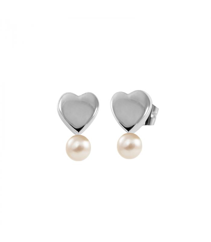 Pendiente corazón perla plata