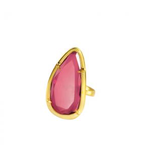 Anillo dorado piedra rosa