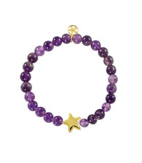 Gold star bracelet in amethyst