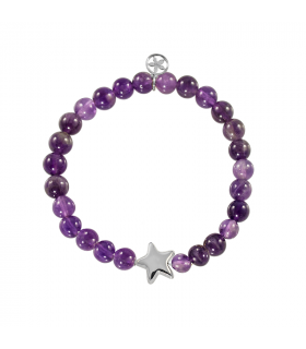 Silver star bracelet with amethyst