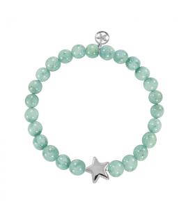 Amazonite silver star bracelet