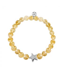 Silver star bracelets with citrine