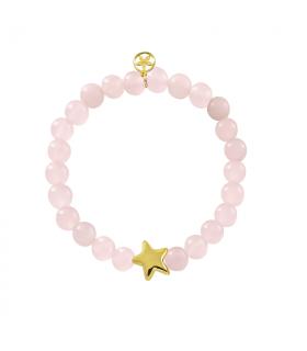 Golden star bracelet with rose quartz