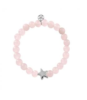 Silver star bracelets with rose quartz