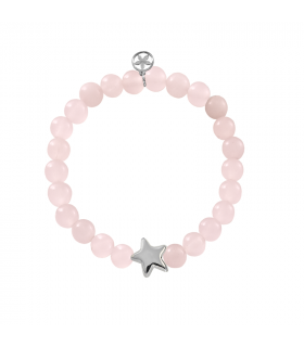 Pulseras estrella plata con cuarzo rosa
