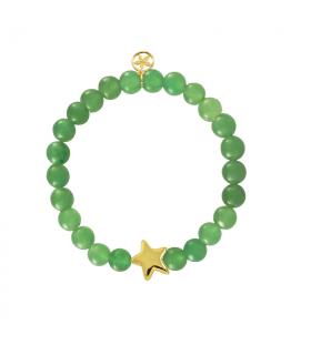 Golden star bracelet with green jade