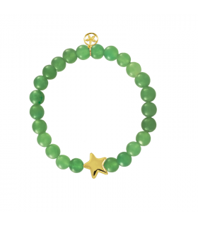 Pulsera dorada estrella con jade verde