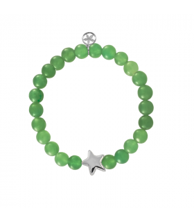 Silver bracelet with star and green jade