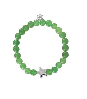 Pulsera de plata con estrella  y jade verde