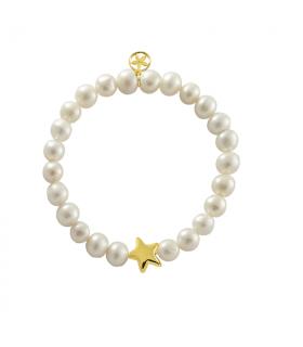 Pulsera estrella dorada con perla