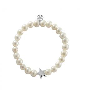 Pulsera estrella de plata con perlas