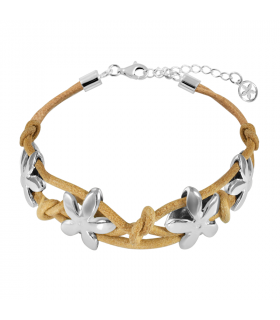 Camel leather jasmine bracelet