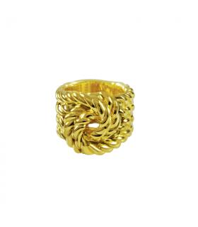 Anillo cuerda nudos dorado