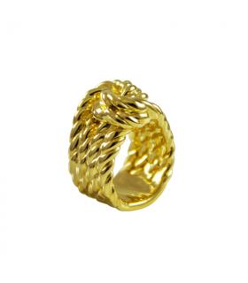 Anillos con forma de cuerda nudos dorado