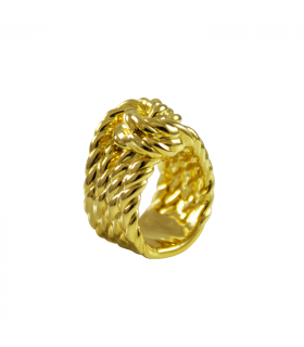 Gold knotted rope rings