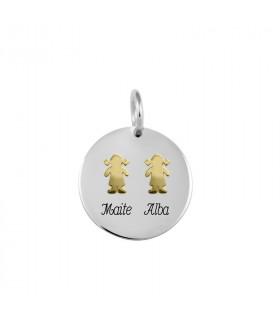 Custom pendant with 2 gold...