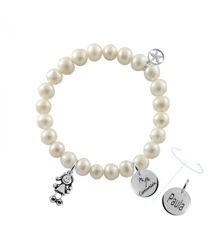 Pulsera perlas comunión personalizada