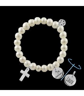 Pulsera cruz con perlas para comunión