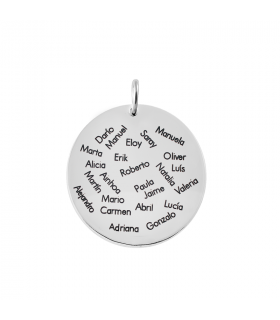 Silver pendant with names