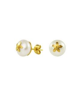 Gold earrings with jasmine