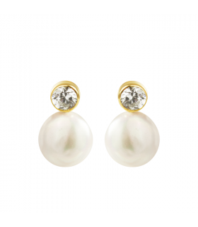 Gold earrings with pearl...