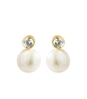Pendientes de oro con perla...