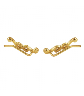 Gold plated knot climber earrings