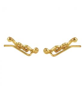 Pendientes trepador nudos en chapado en oro
