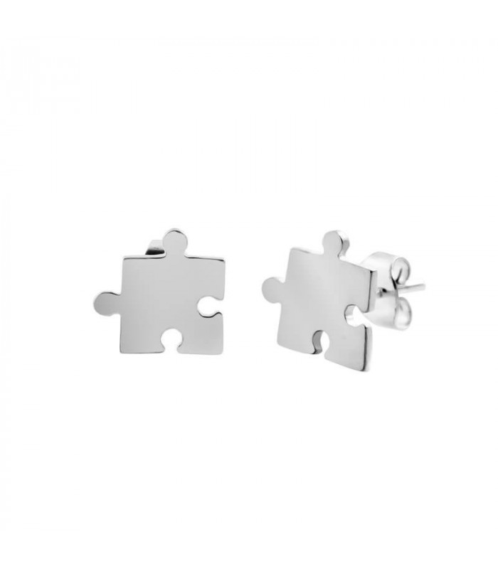 Silver puzzle earring