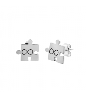 Custom silver puzzle earring