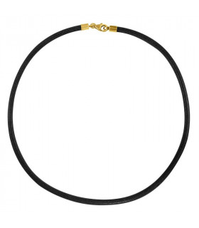Cordón cuero negro con terminales dorados