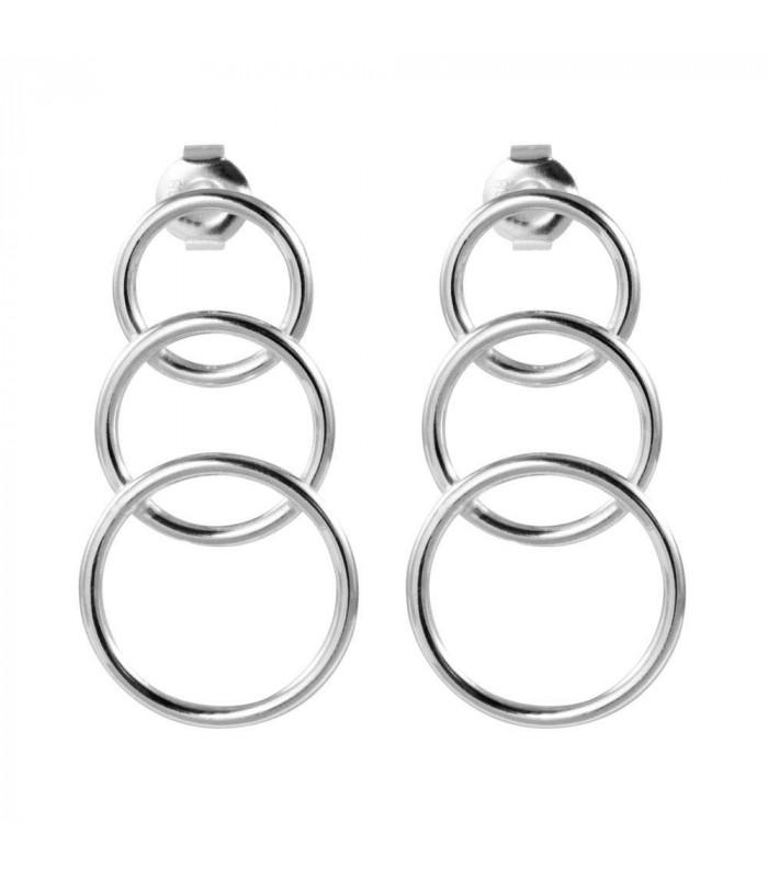 Triple silver hoop earring