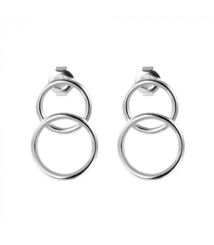 Double hoop earrings in silver
