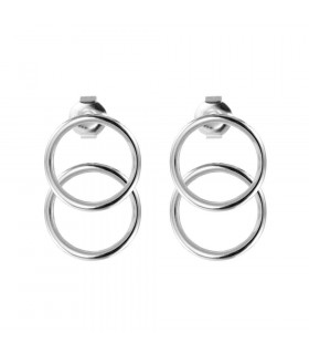 Double silver hoop earring