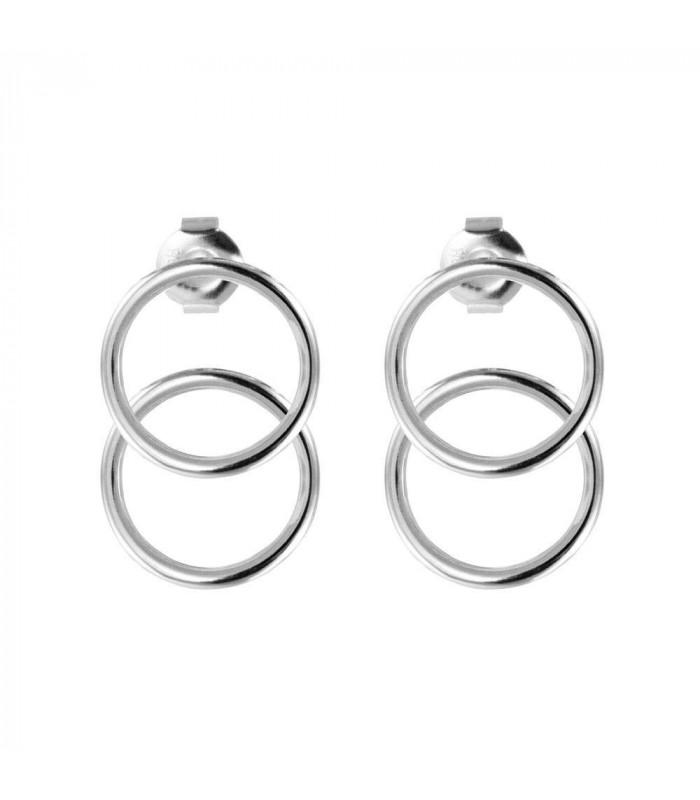 Double silver hoop earring
