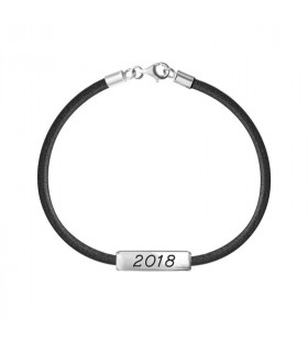 Bracelet with date and black leather