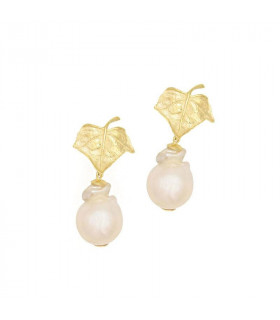 Pendiente hoja con perlas