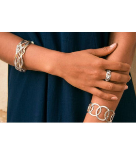 Silver bracelet collections with threads