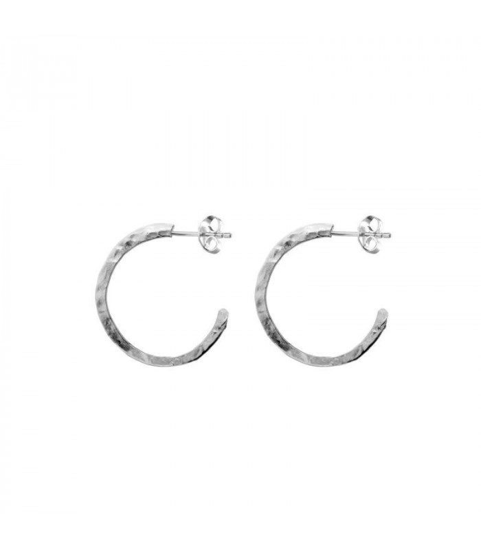 Small hammered hoop earrings