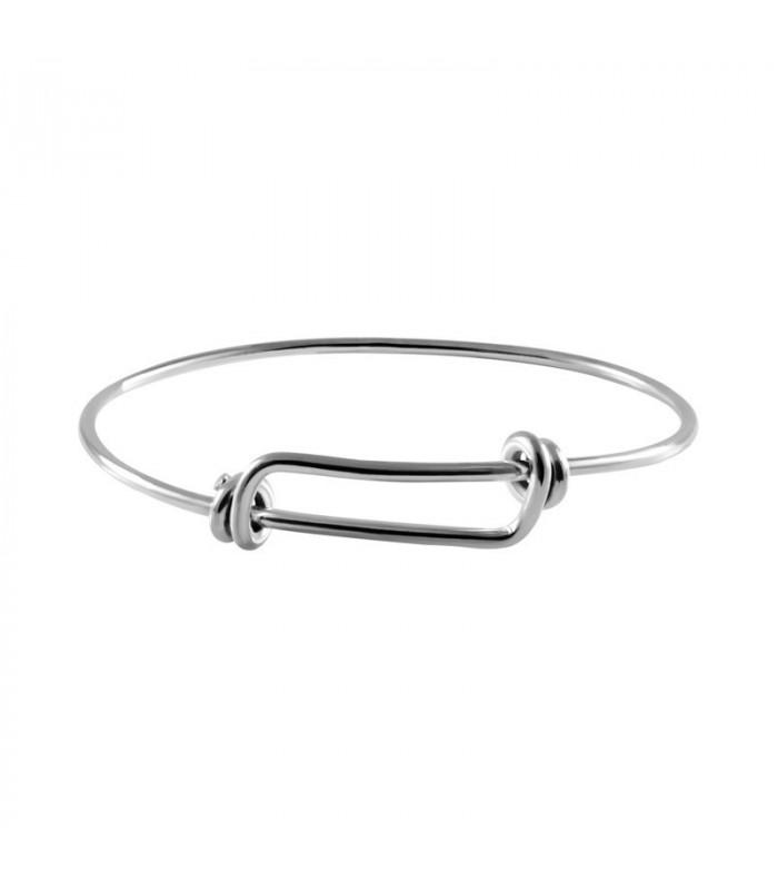 Silver Knot Bracelet With One Thread Unisex Sliding Knot Bracelet