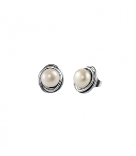 Silver Relio Pearl Earring