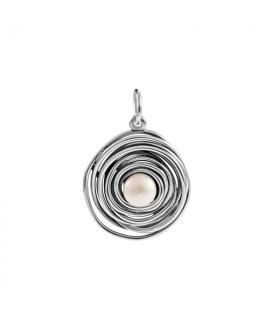 Silver circle pearl pendant